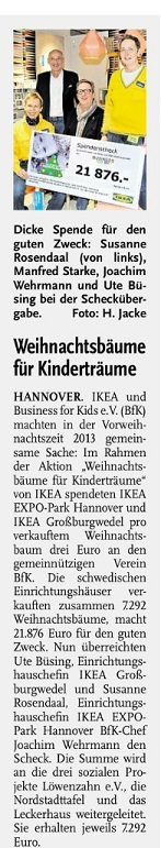 Hannoversches Wochenblatt IKEA Business for Kids