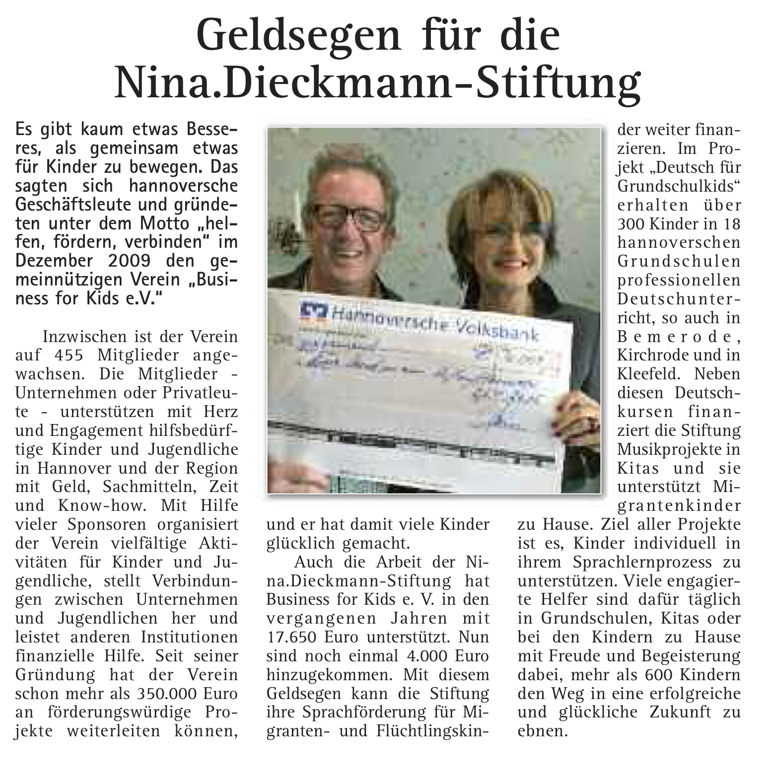 Nina Dieckmann Stiftung Business for Kids