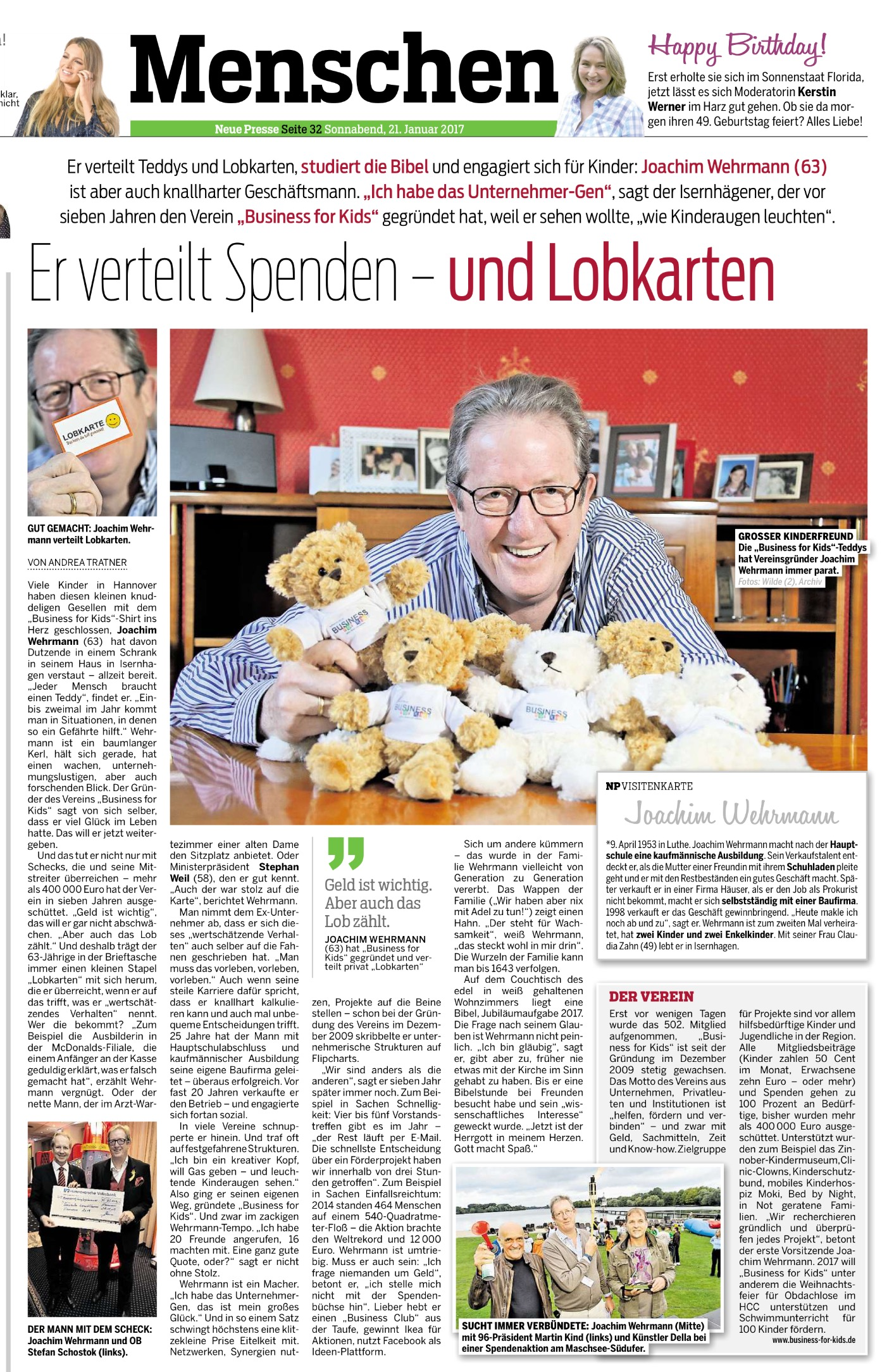 Neue Presse Joachim Wehrmann Business for Kids e.V.